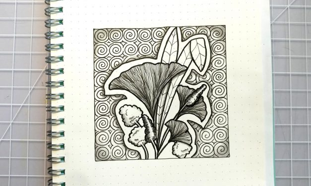 One Zentangle a Day – Day 42 – with Zentangle Pattern Bronx Cherry