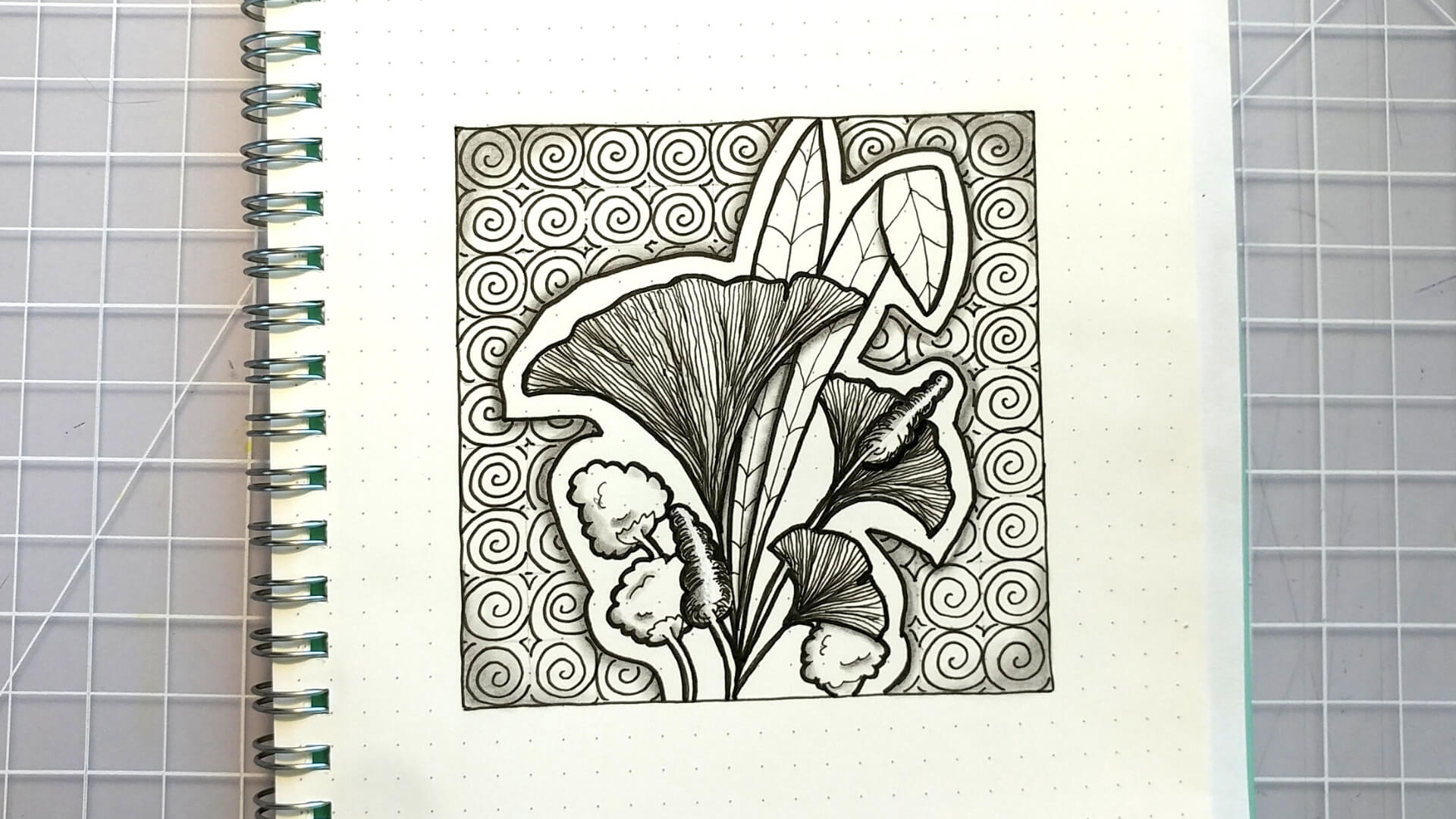 One Zentangle a Day 42 with Zentangle Pattern Bronx Cherry