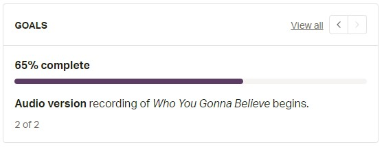 Screenshot shows I am 65% of the way to my second pledge goal to record an audio version of Who You Gonna Believe.