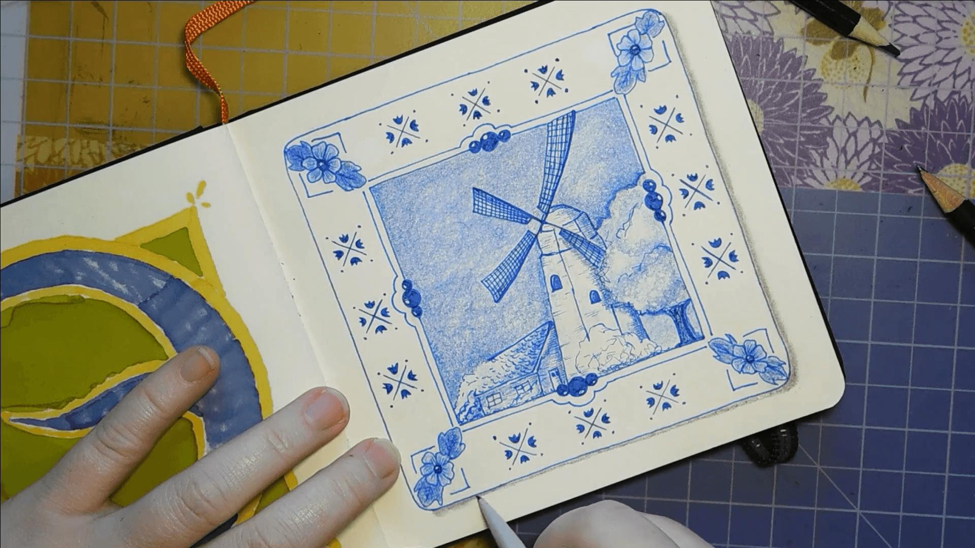 Inktober Zentangle Challenge Day 9 image - Delft inspired Zentangle art