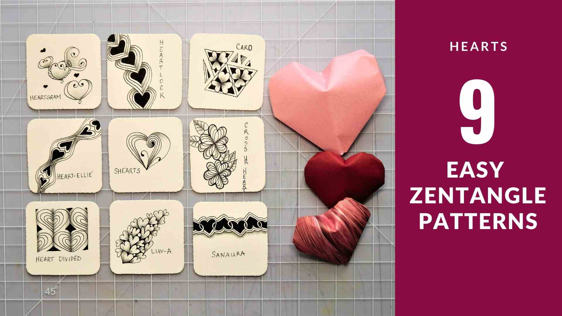 9 Easy Zentangle Heart Patterns for Valentine's Day