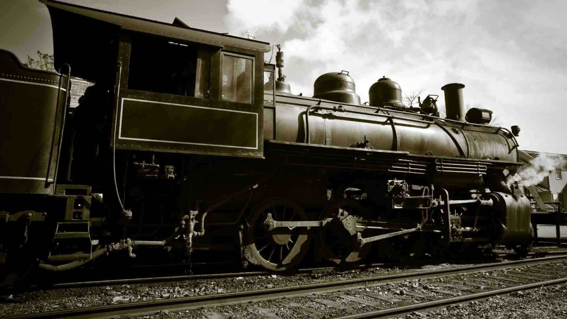 An image of a steam engine on the railroad tracks sets the scene for Disunion Station
